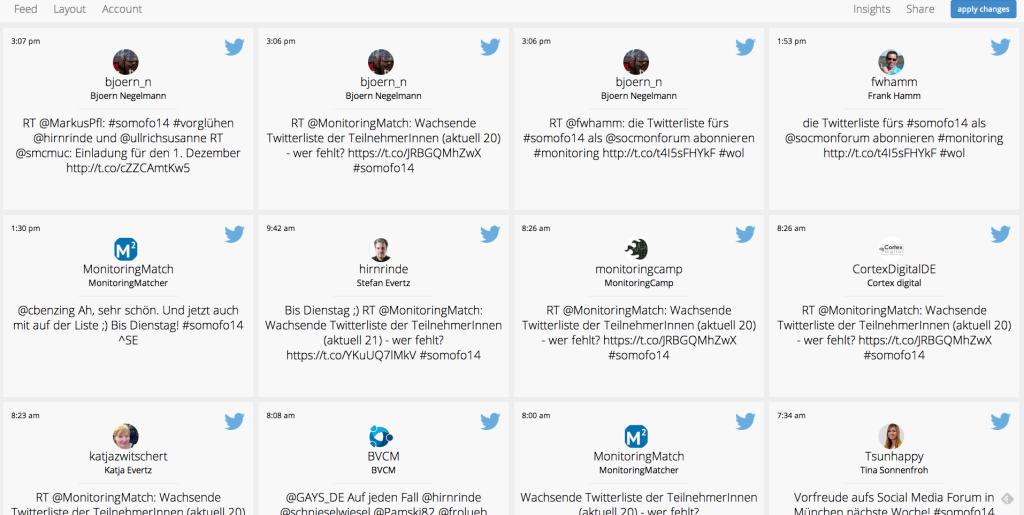 Für BarCamps kostenlose Twitterwalls von Socialmediawall.me