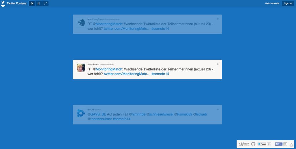 Kostenlose Twitterwalls von Twitterfontana