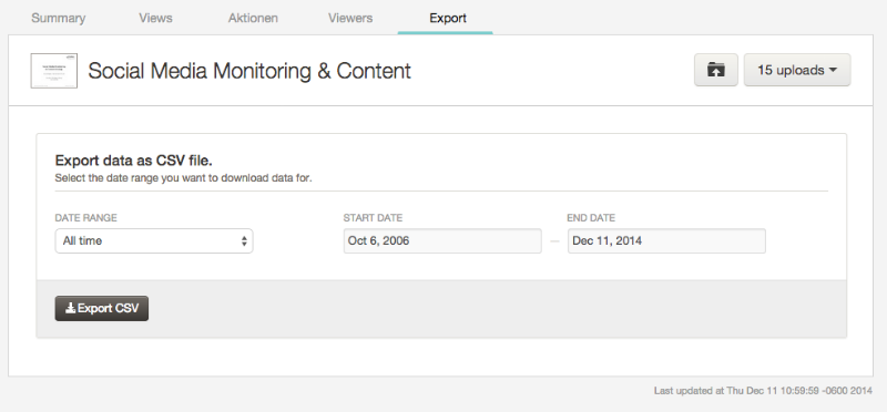 SlideShare Analytics: Export