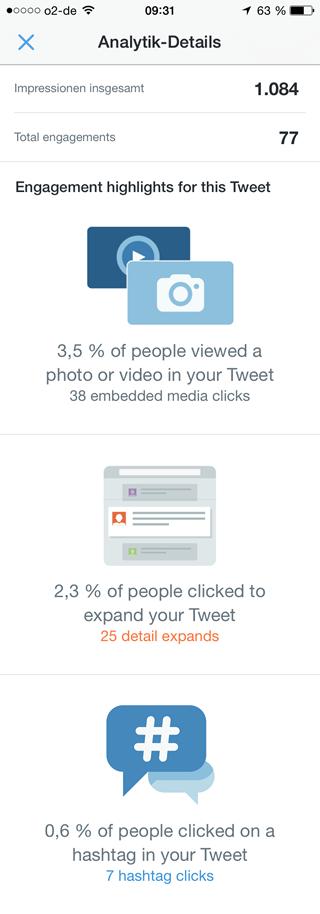 Twitter Analytics iOS (Analytik details)
