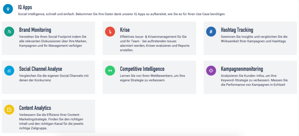 Startseite IQ Apps inkl. Content Analytics