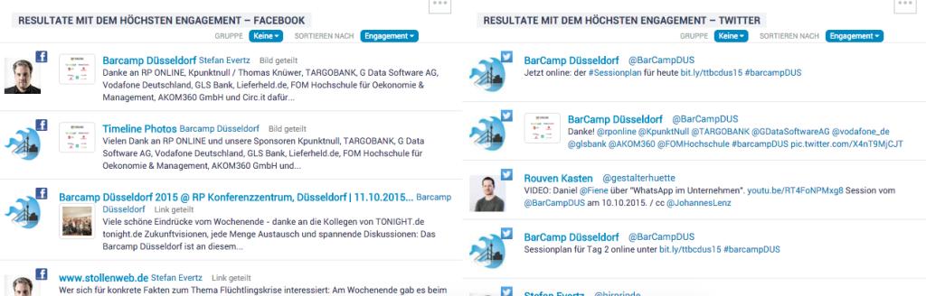 IQ App Content Analytics 2 (Posts mit dem höchsten Engagement; BarCamp Düsseldorf)