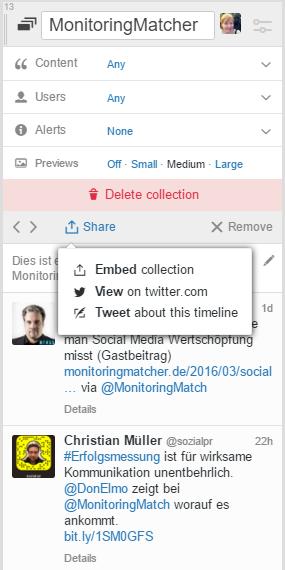 21 Tweetdeck Tipps: Sammlung einbetten