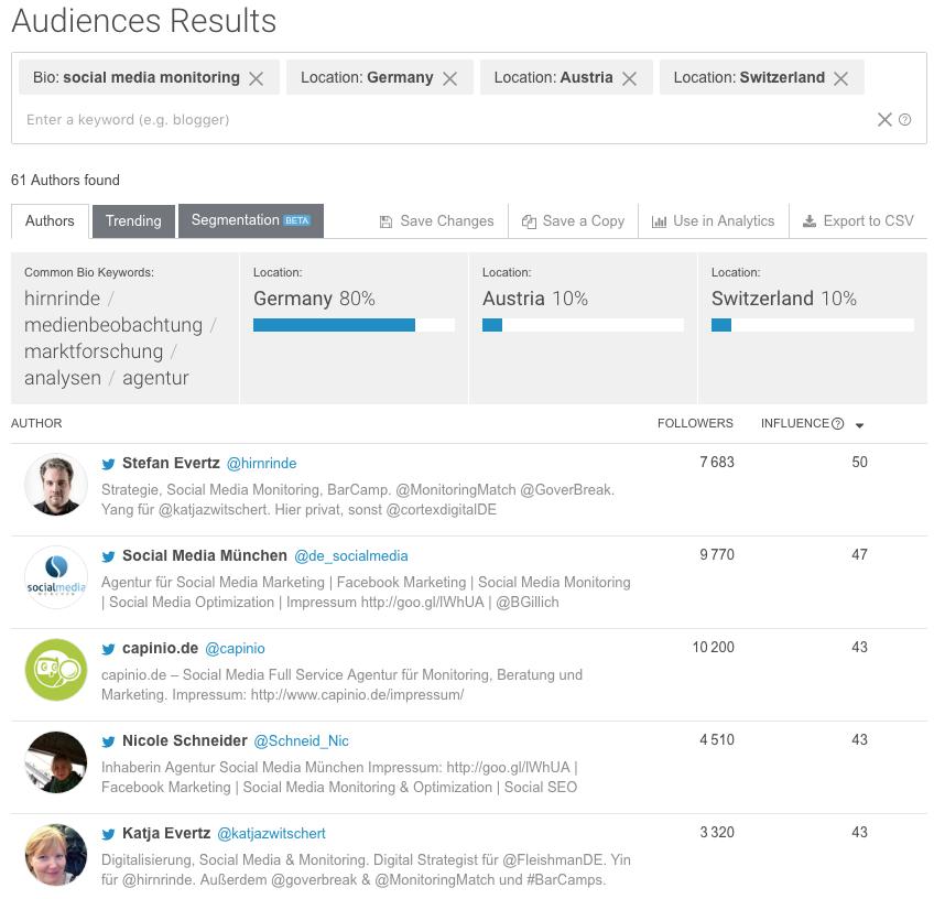 brandwatch audiences beispiel suche monitoring dach