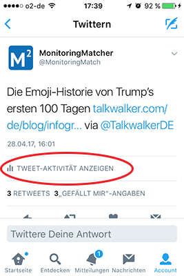 Twitter Analytics: Analytics Icon in der Twitter-App