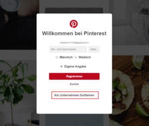 Pinterest Analytics: Neues Konto erstellen