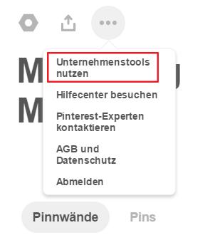 Pinterest Analytics: Auswahl zur Umwandlung in ein Unternehmensprofil