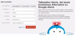 Google Alerts Alternativen: Talkwalker Alerts E-Mail